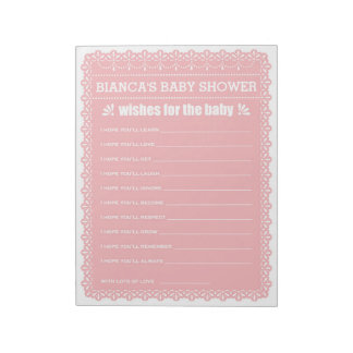 Wishes for Baby Pink Papel Picado Baby Shower Notepad