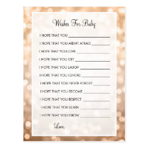 Wishes For Baby Shower Copper Glitter Lights Postcard