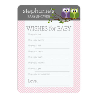 Wishes for Baby Shower Games Pink Cute Owls Girl Card