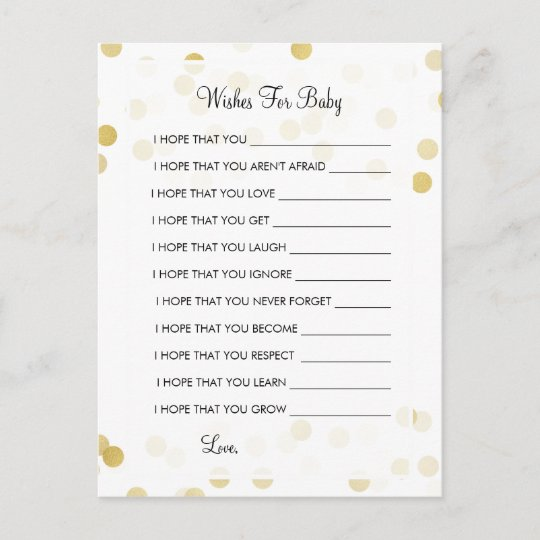 Wishes For Baby Shower Gold Foil Glitter Lights Advice Card