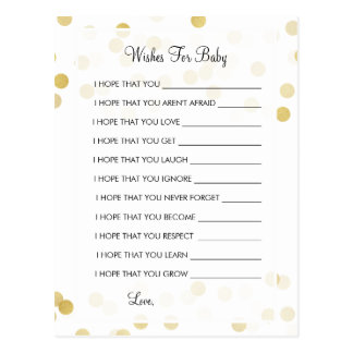 Wishes For Baby Shower Gold Foil Glitter Lights Postcard
