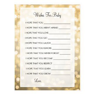 Wishes For Baby Shower Gold Glitter Lights Postcard