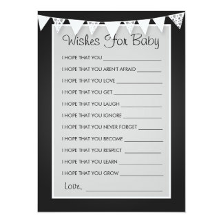 Wishes For Baby Shower Love Bunting Black 5.5x7.5 Paper Invitation Card