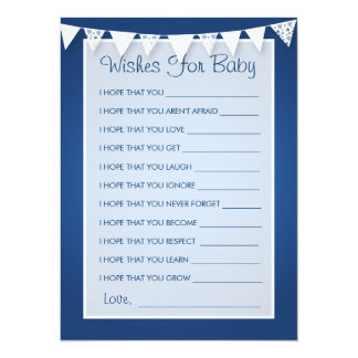 Wishes For Baby Shower Love Bunting Blue Card
