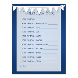 Wishes For Baby Shower Love Bunting  Blue Postcard