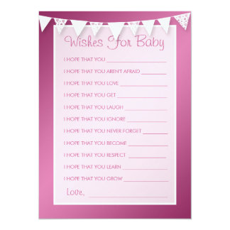 Wishes For Baby Shower Love Bunting Pink 5.5x7.5 Paper Invitation Card