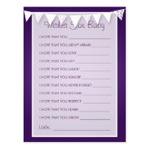 Wishes For Baby Shower Love Bunting  Purple Postcard