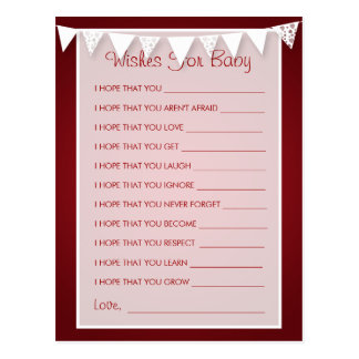 Wishes For Baby Shower Love Bunting  Red Postcard