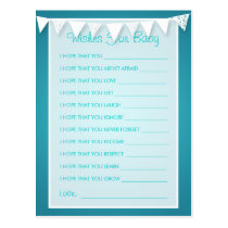Wishes For Baby Shower Love Bunting  Turquoise Postcard
