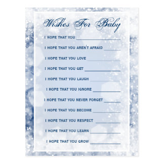 Wishes For Baby Shower Night Sparkle Blue Postcard