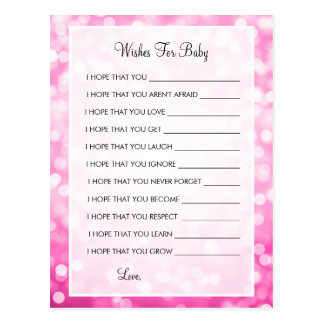 Wishes For Baby Shower Pink Glitter Lights Postcard