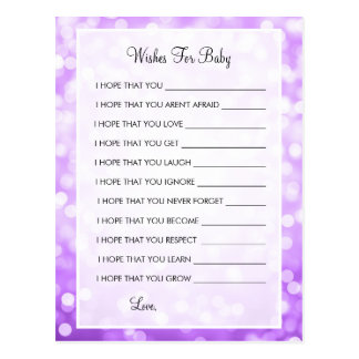 Wishes For Baby Shower Purple Glitter Lights Postcard