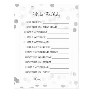 Wishes For Baby Shower Silver Foil Glitter Lights Postcard