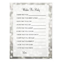 Wishes For Baby Shower Silver Glitter Lights Postcard