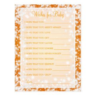 Wishes For Baby Shower Winter Sparkle Orange Postcard
