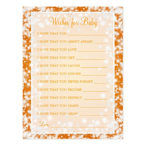 Wishes For Baby Shower Winter Sparkle Orange Postcard