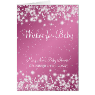 Wishes For Baby Shower Winter Sparkle Pink Card