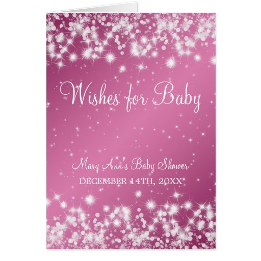 Wishes For Baby Shower Winter Sparkle Pink Greeting Cards