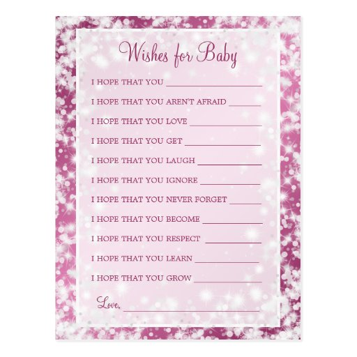 Wishes For Baby Shower Winter Sparkle Pink Postcard