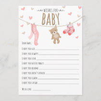 Wishes for Baby Teddy Bear Pink Girl Game card