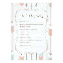 Wishes For Baby Tribal Arrows Shower Game Card