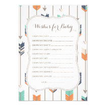 Wishes For Baby Tribal Arrows Shower Navy Orange Card