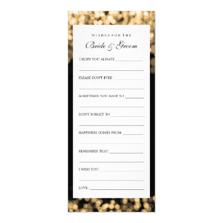Wishes For Bride And Groom Gold Lights 4x9.25 Paper Invitation Card