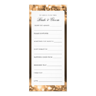Wishes For Bride And Groom Gold Sparkling Lights Card