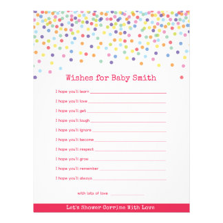 Wishes for The Baby Confetti Baby Shower Game Flyer