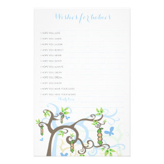 Wishes For Twins Baby Boys Blue Peas In A Pod Stationery