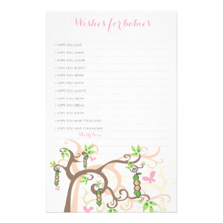 Wishes For Twins Baby Girl Pink Peas In A Pod Game Stationery