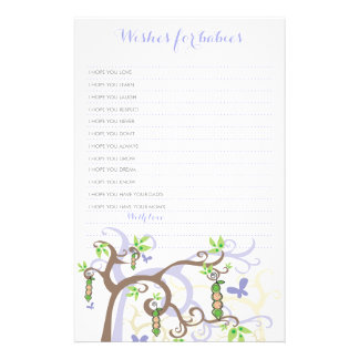 Wishes For Twins Baby Purple Peas In A Pod Game Stationery