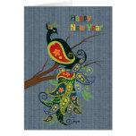 Wishesfor 2013 del Año Nuevo del pavo real Tarjetas