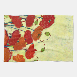 Wishful Blooming Red Poppy Kitchen Towel at Zazzle