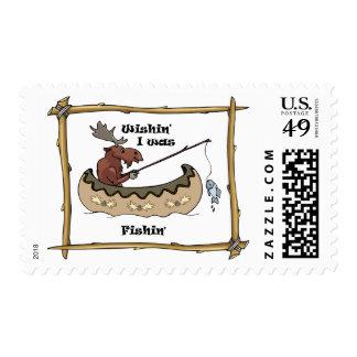 Wishin' I was Fishin Postage Stamp