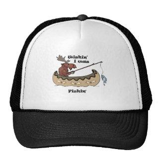 Wishin I was Fishing Moose Fishing Trucker Hat