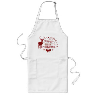 Wishing a Merry Christmas/Typography/Red Text Long Apron