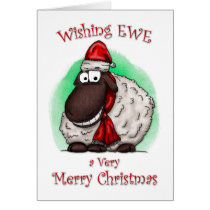 Wishing Ewe Sheep Merry Christmas Card