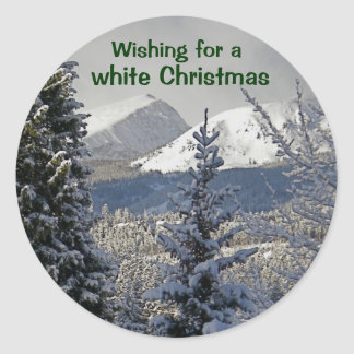 Wishing for a white Christmas Classic Round Sticker