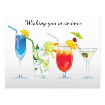 Beach Themed Wishing For Cocktails Postcards