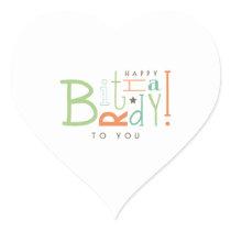 Wishing Happy Birthday! Heart Sticker