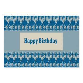 Wishing Happy Birthday with Blue Deco Canvas Poster