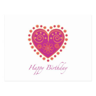 "Wishing ""Happy Birthday"" with pink folklore heart Postcard"