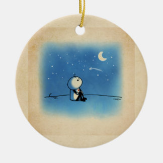 Wishing on a star Double-Sided ceramic round christmas ornament