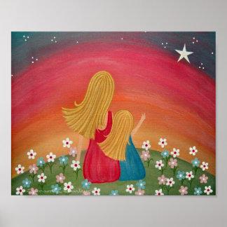 Wishing Star - 8x10 Mother Daughter Kids Wall Art