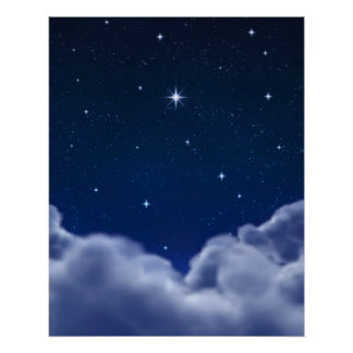 Wishing Star over Clouds Poster