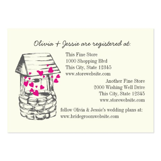 Wedding Registry Card Template Free : Wishing Well Bridal Registry Cards Large Business Cards (Pack Of 100 ...