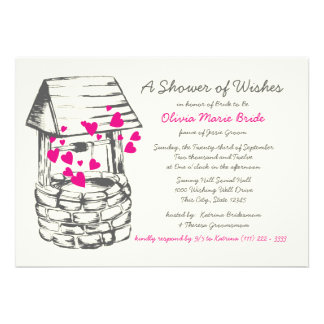 Wishing Well Bridal Shower Pink Hearts Personalized Announcement