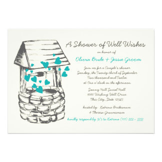 Wishing Well Couples Shower Turquoise Hearts Personalized Invite
