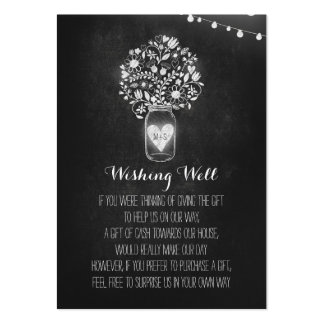 Wishing Well Floral Rustic Mason Jar Chalk Large Business Card